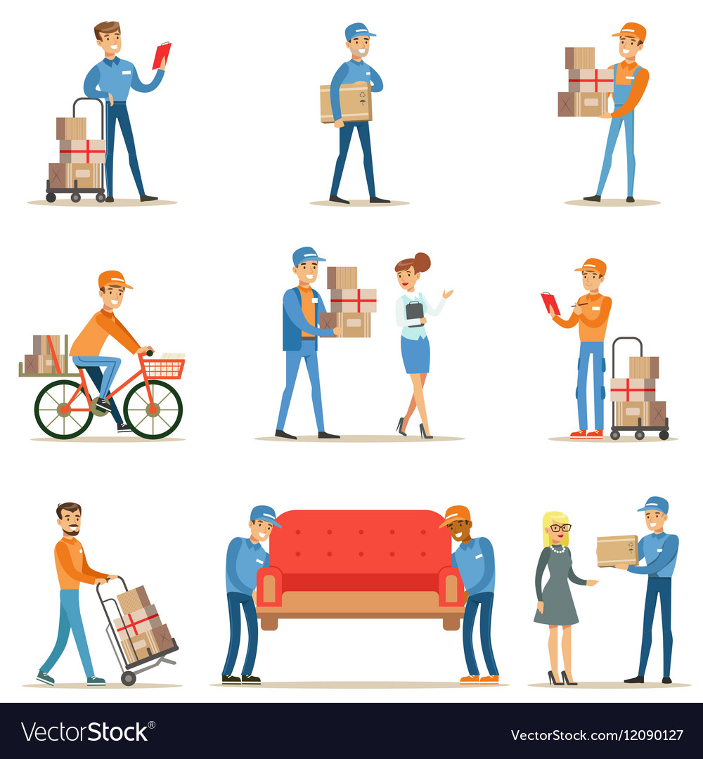 Different delivery service workers and clients vector