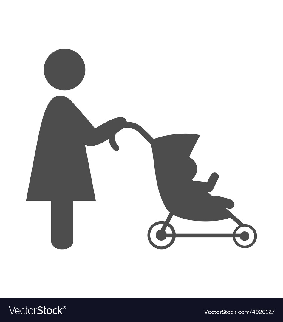 Mother with baby stroller pictogram flat icon vector