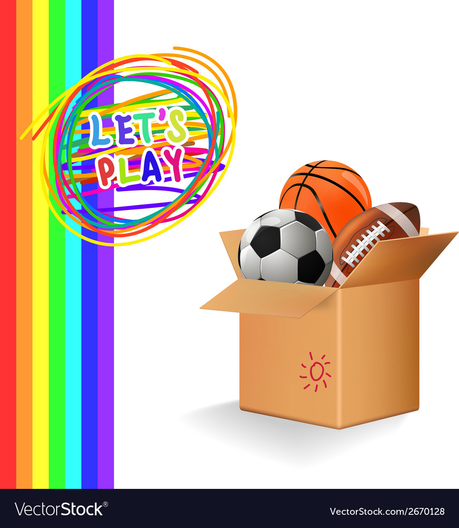 Box with sports balls vector