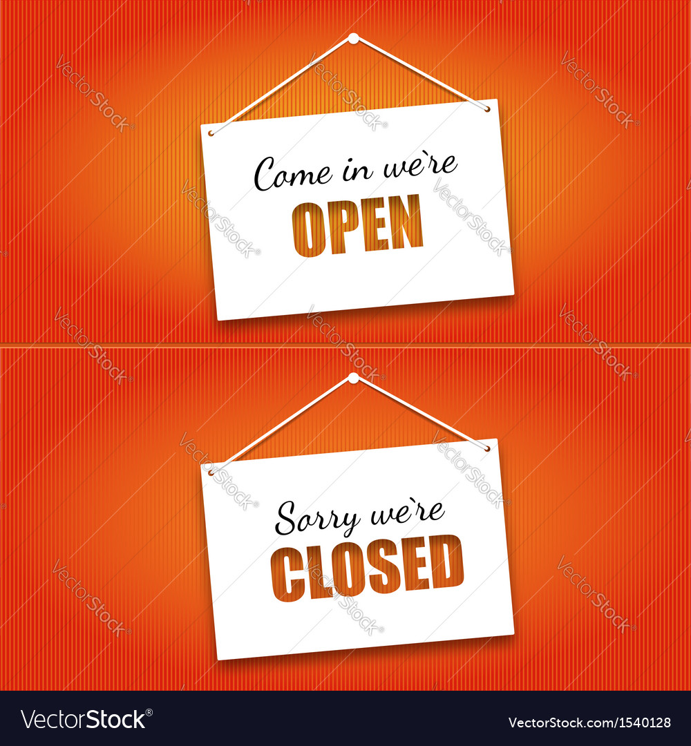 Open and closed door signs board vector