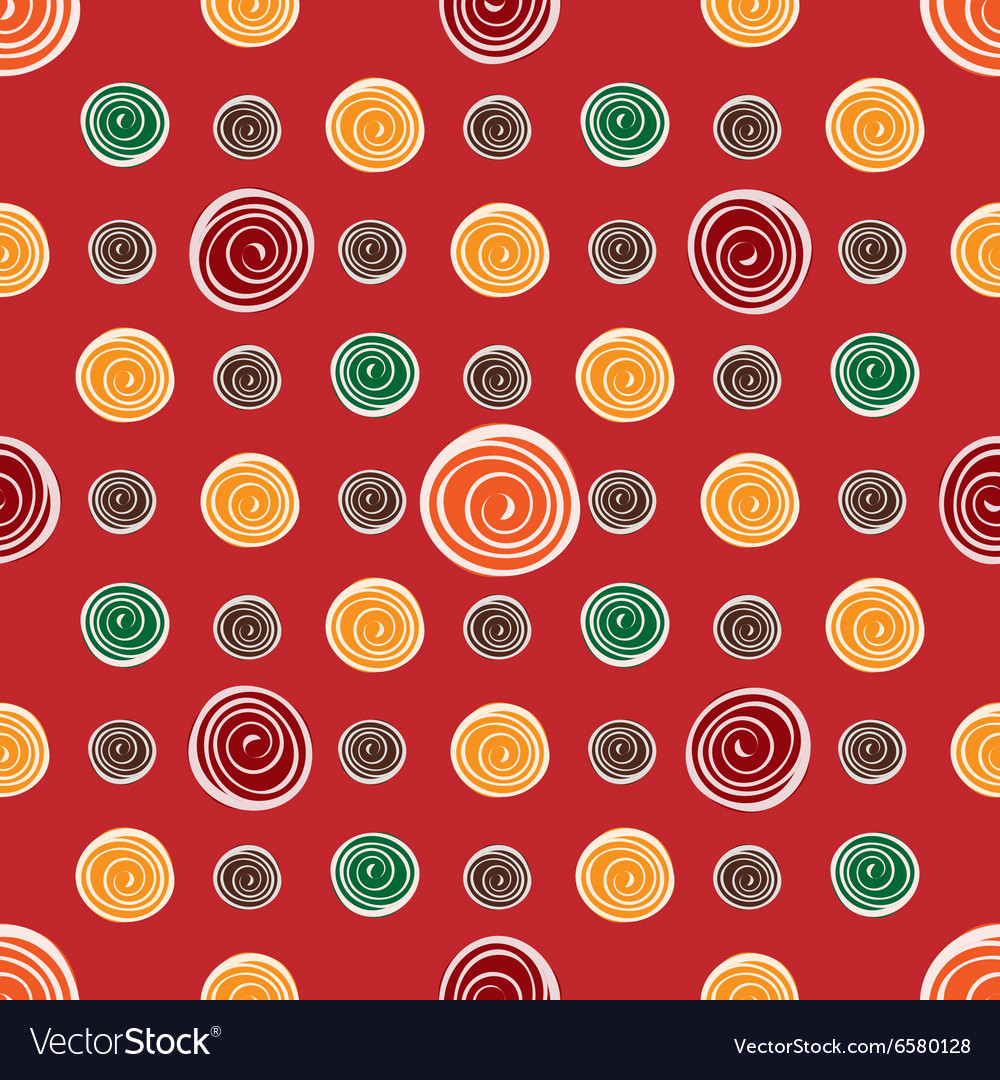 Red flower yellow green circles on red seamless vector