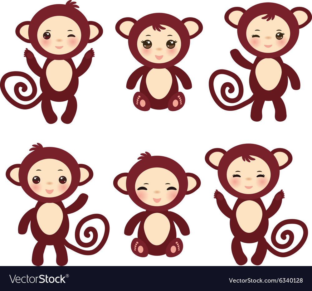 Set of funny brown monkey boys and girls on white vector