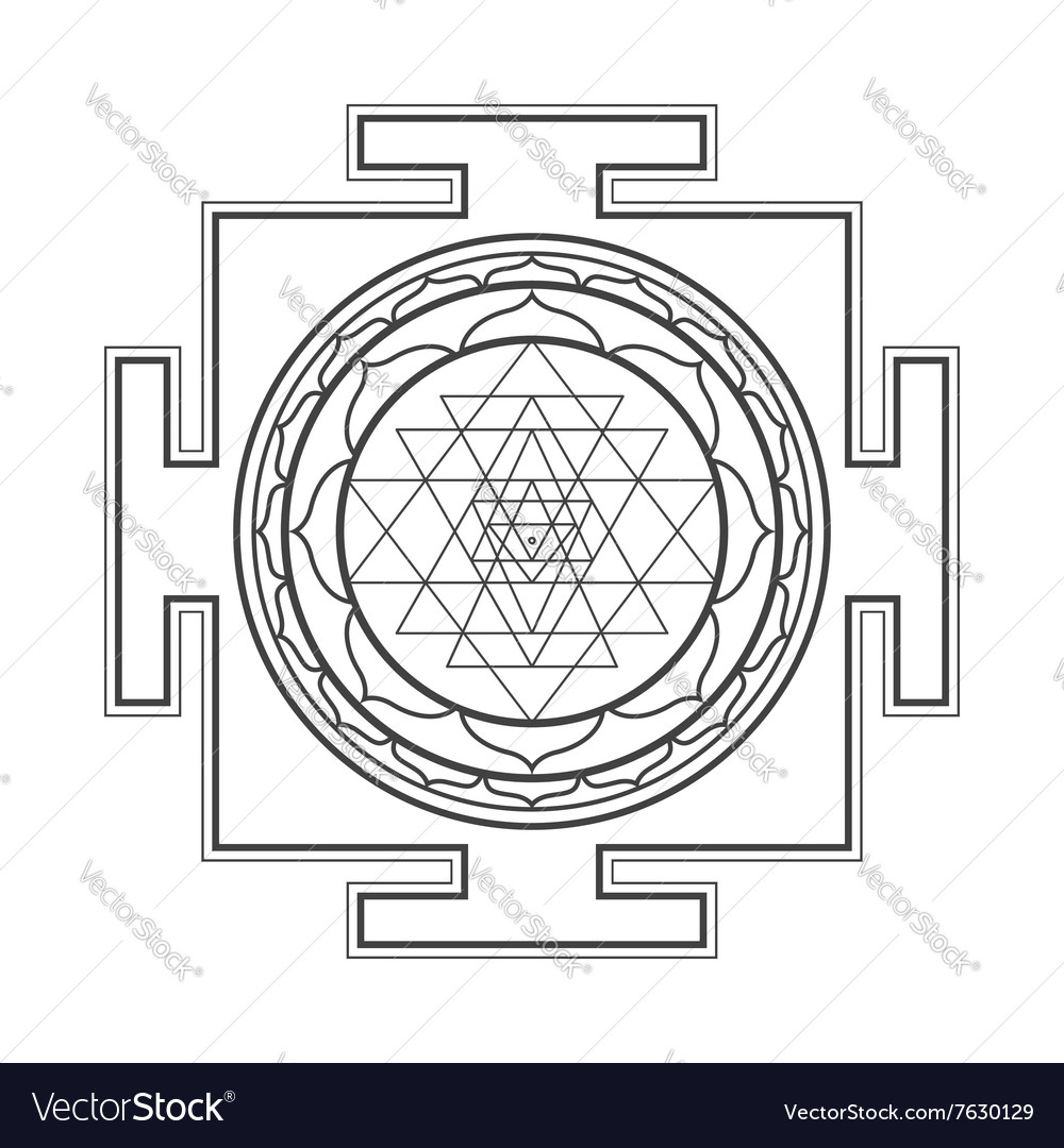 Monocrome outline sri yantra vector
