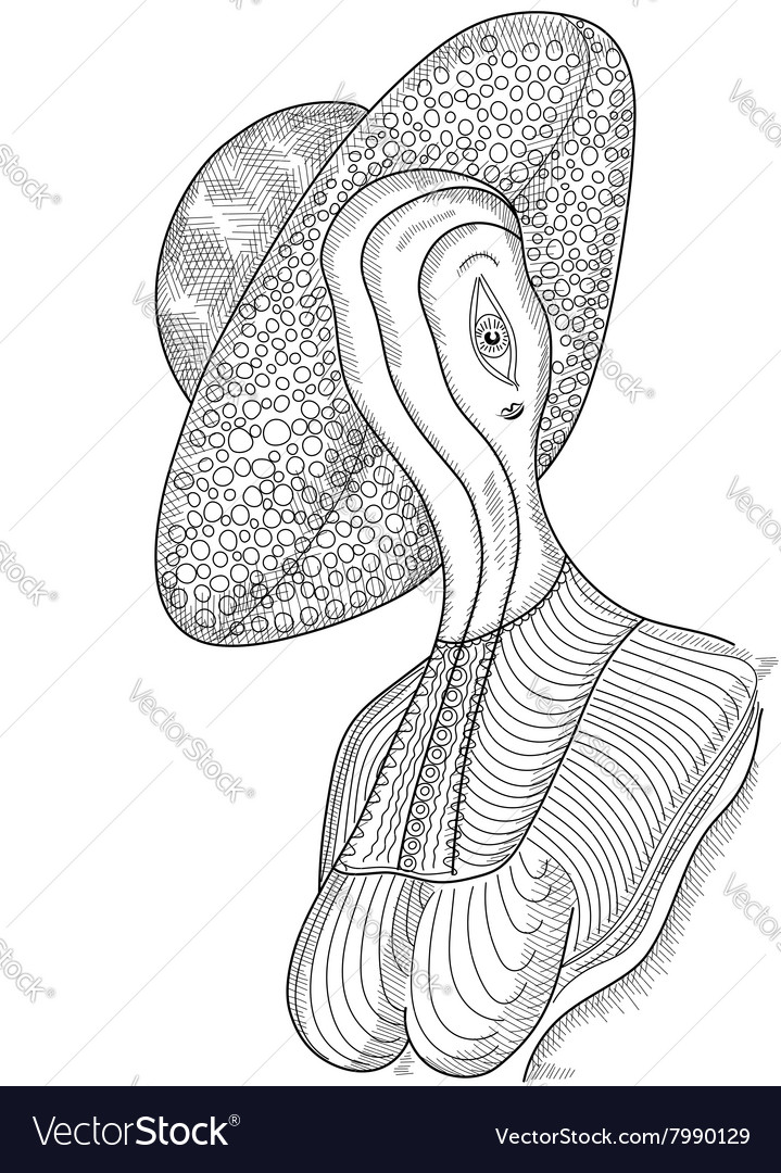Surreal hand drawing woman in a hat vector