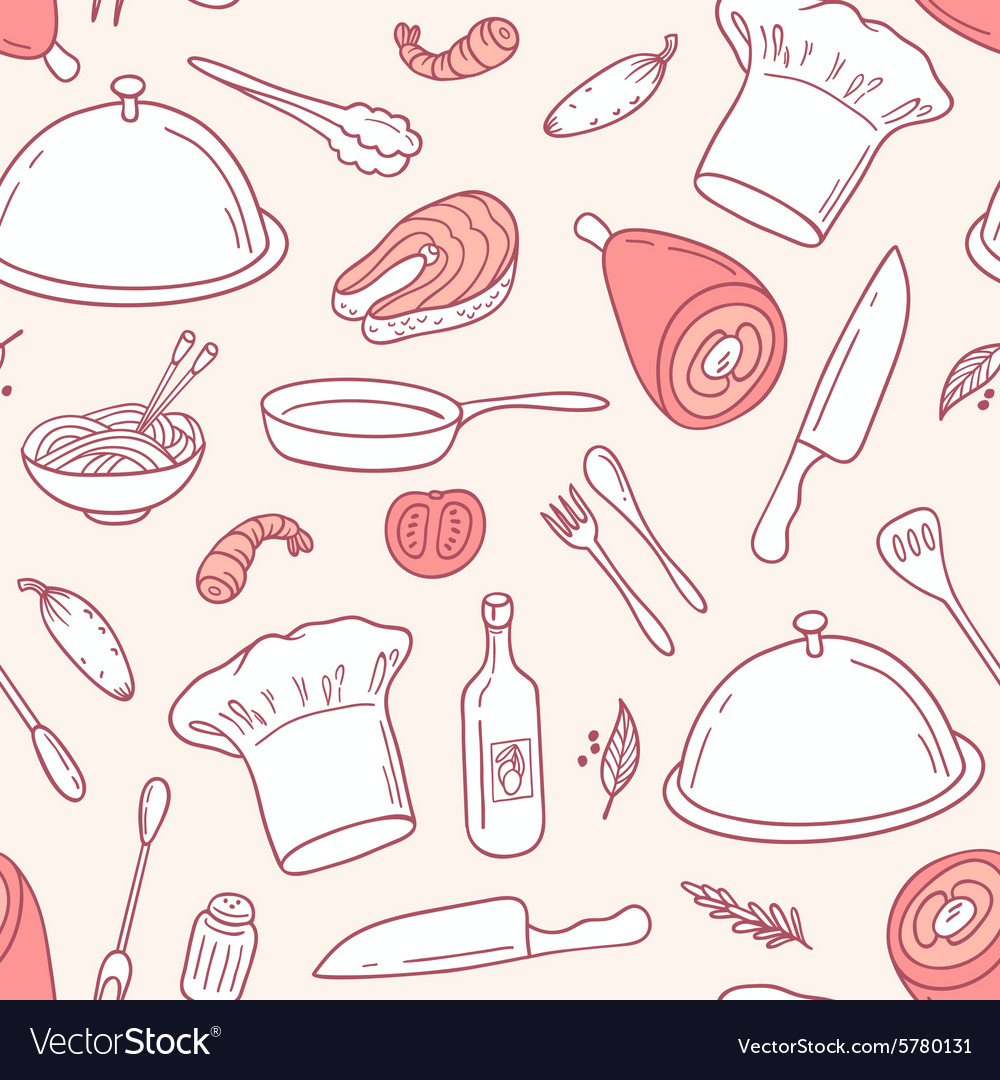 Outline seamless pattern with food elements in vector