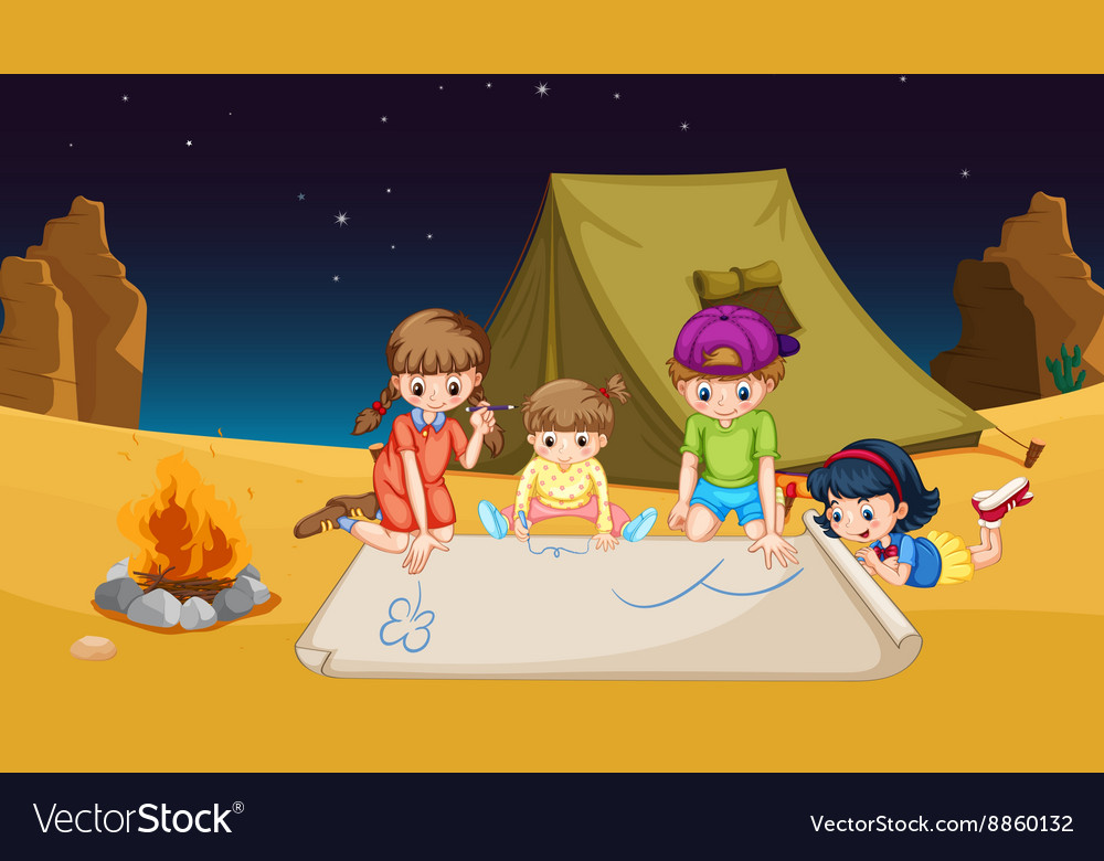 Children camping out in the desert vector