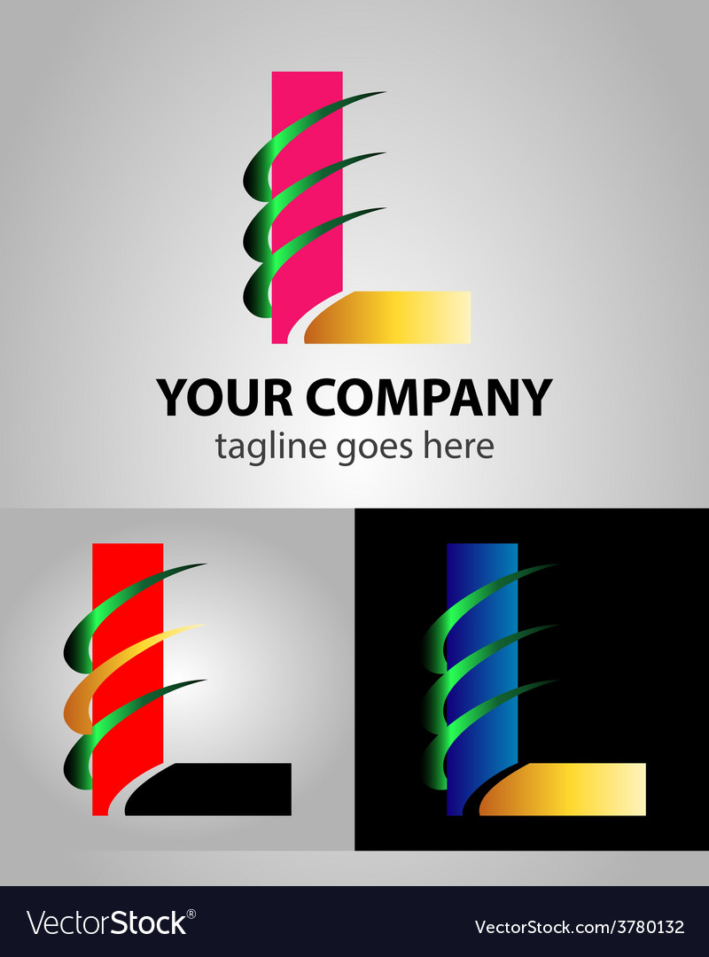 Corporate logo l letter company design temp vector