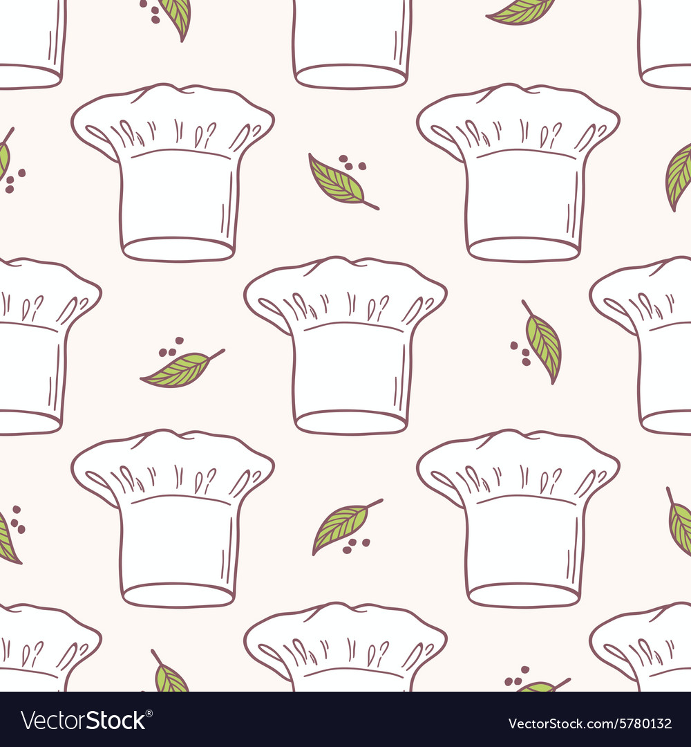 Seamless pattern with hand drawn chef hat kitchen vector