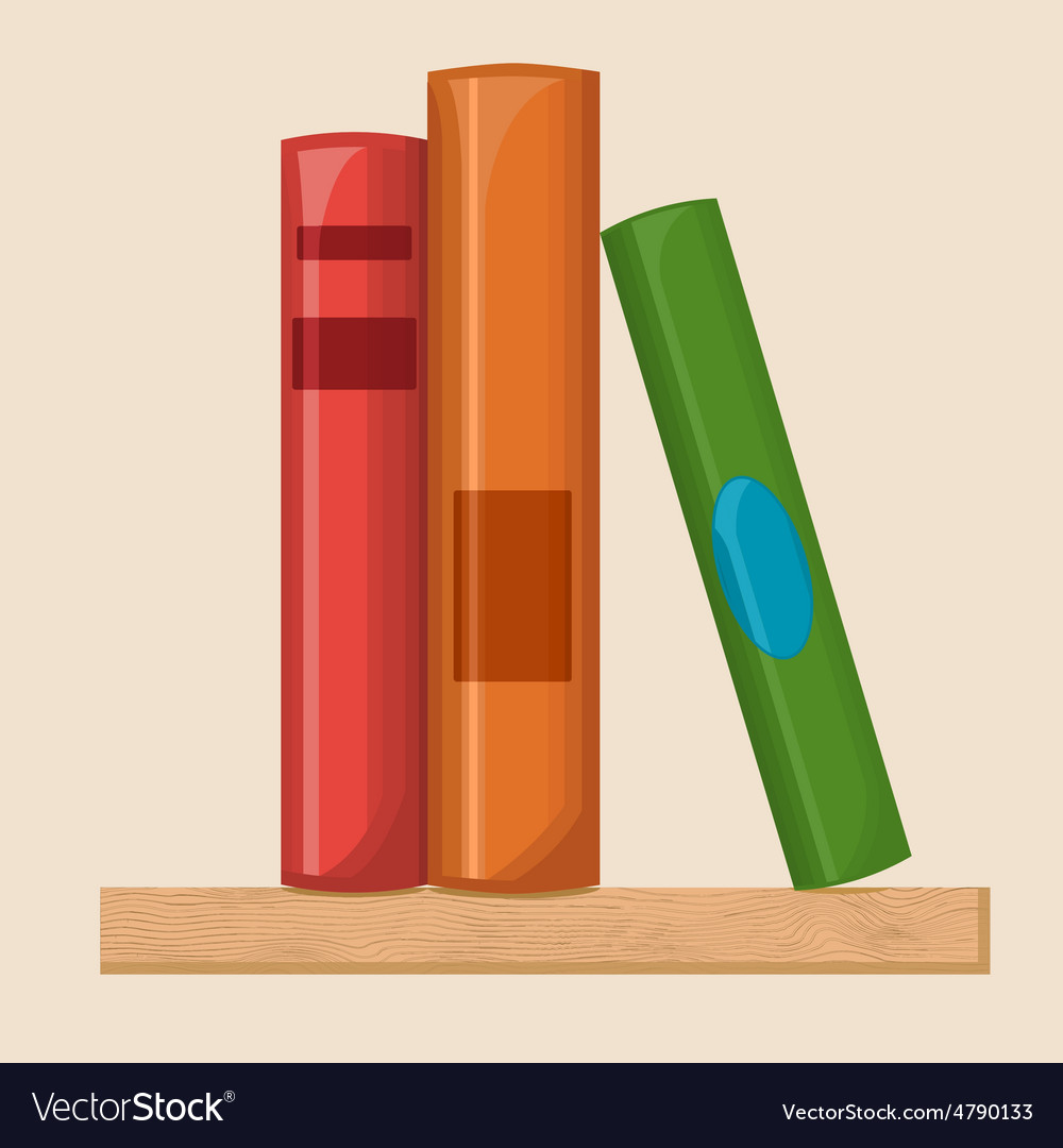 Book shelf flat vector