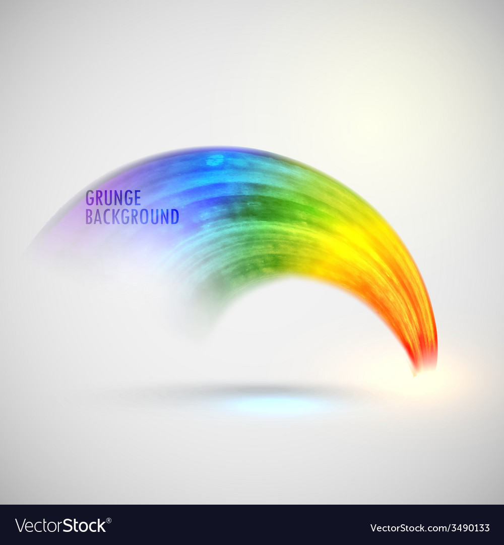 Grunge watercolor rainbow background brushed ink vector