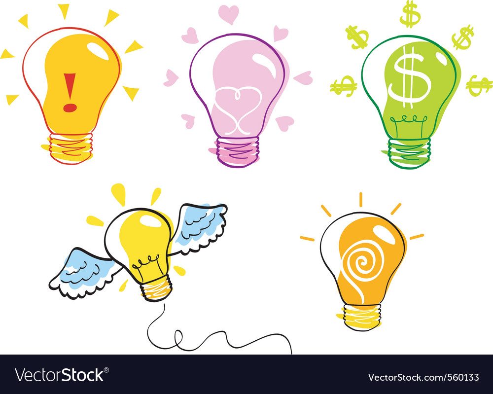 Ideas bulb icon set vector