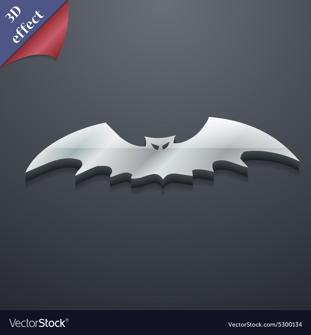Bat icon symbol 3d style trendy modern design with vector