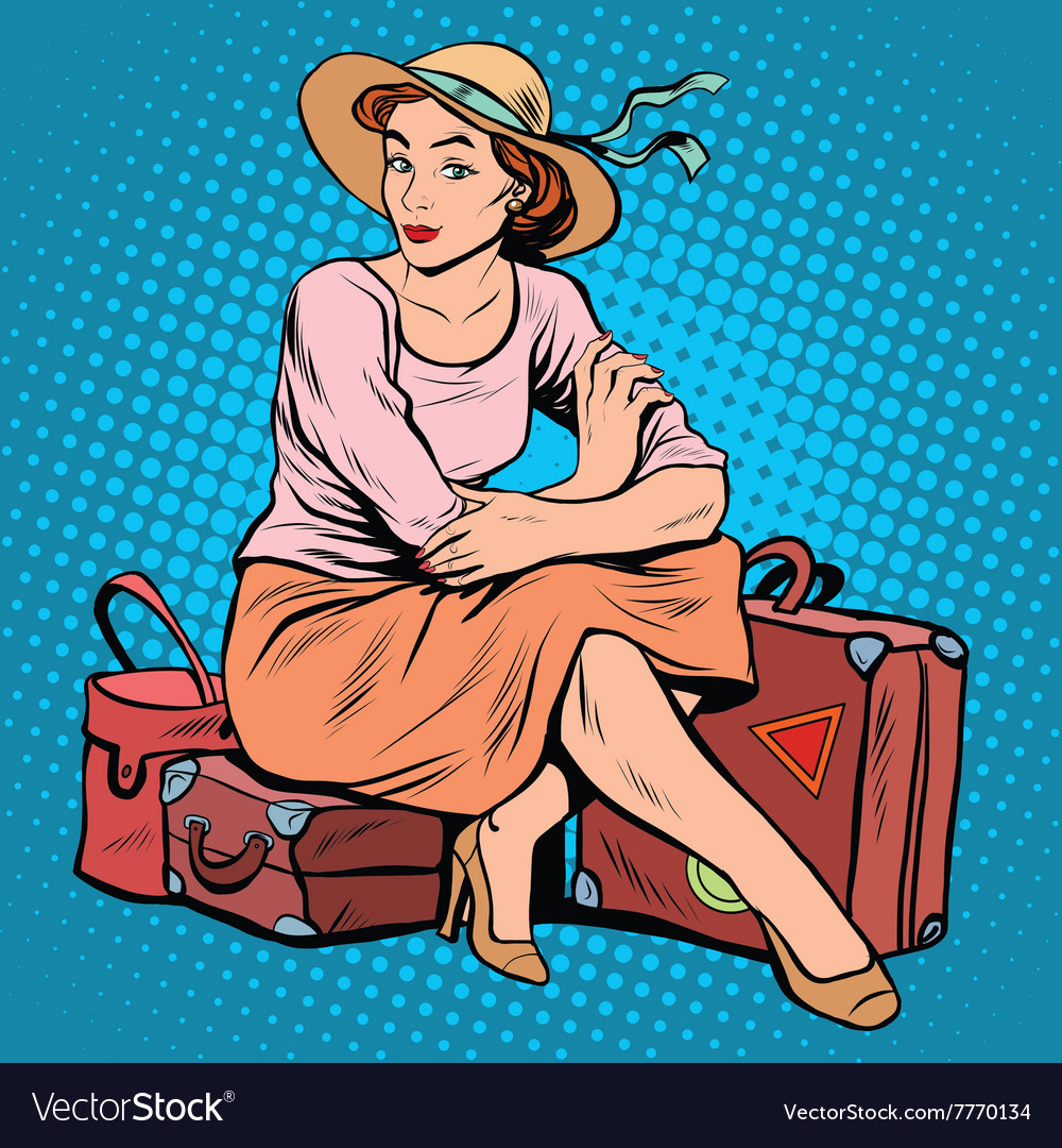 Lady tourist traveler vector
