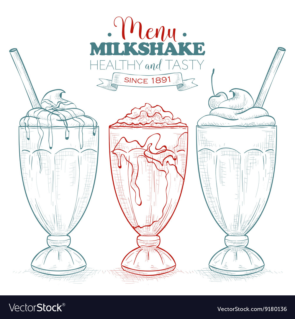 Scetch milkshake menu vector