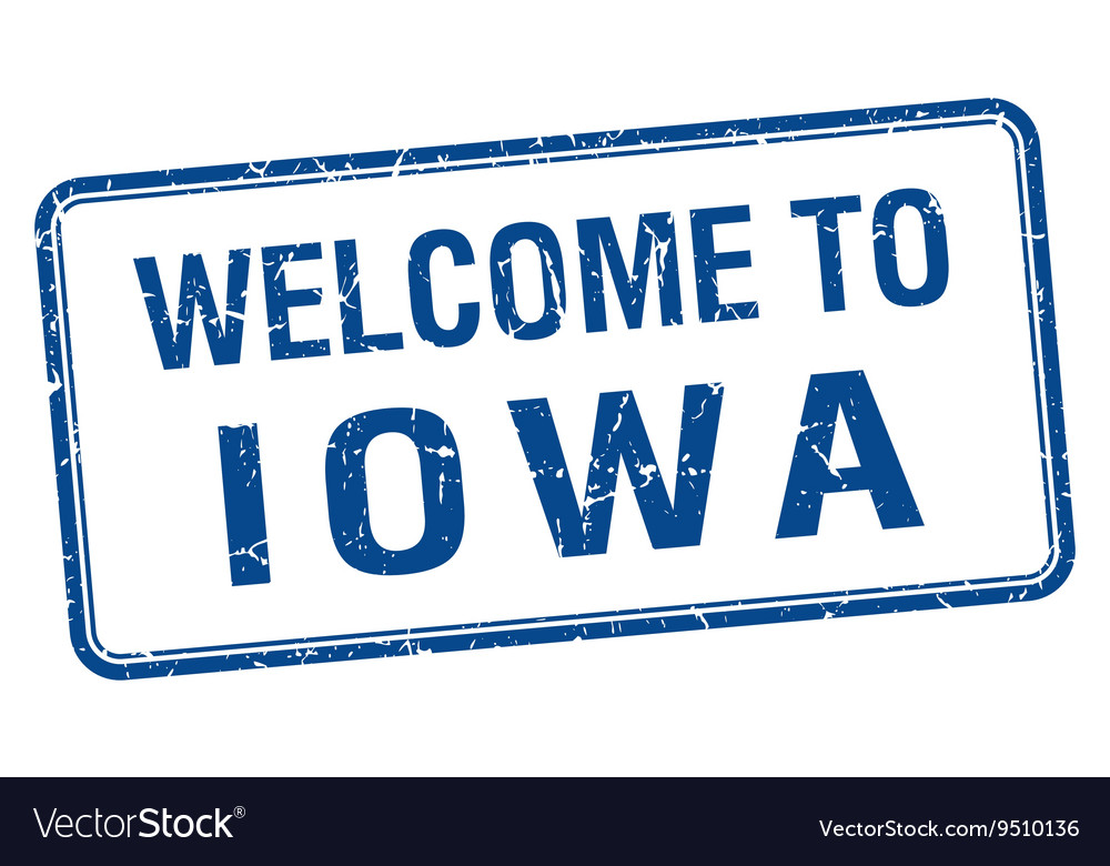 Welcome to iowa blue grunge square stamp vector
