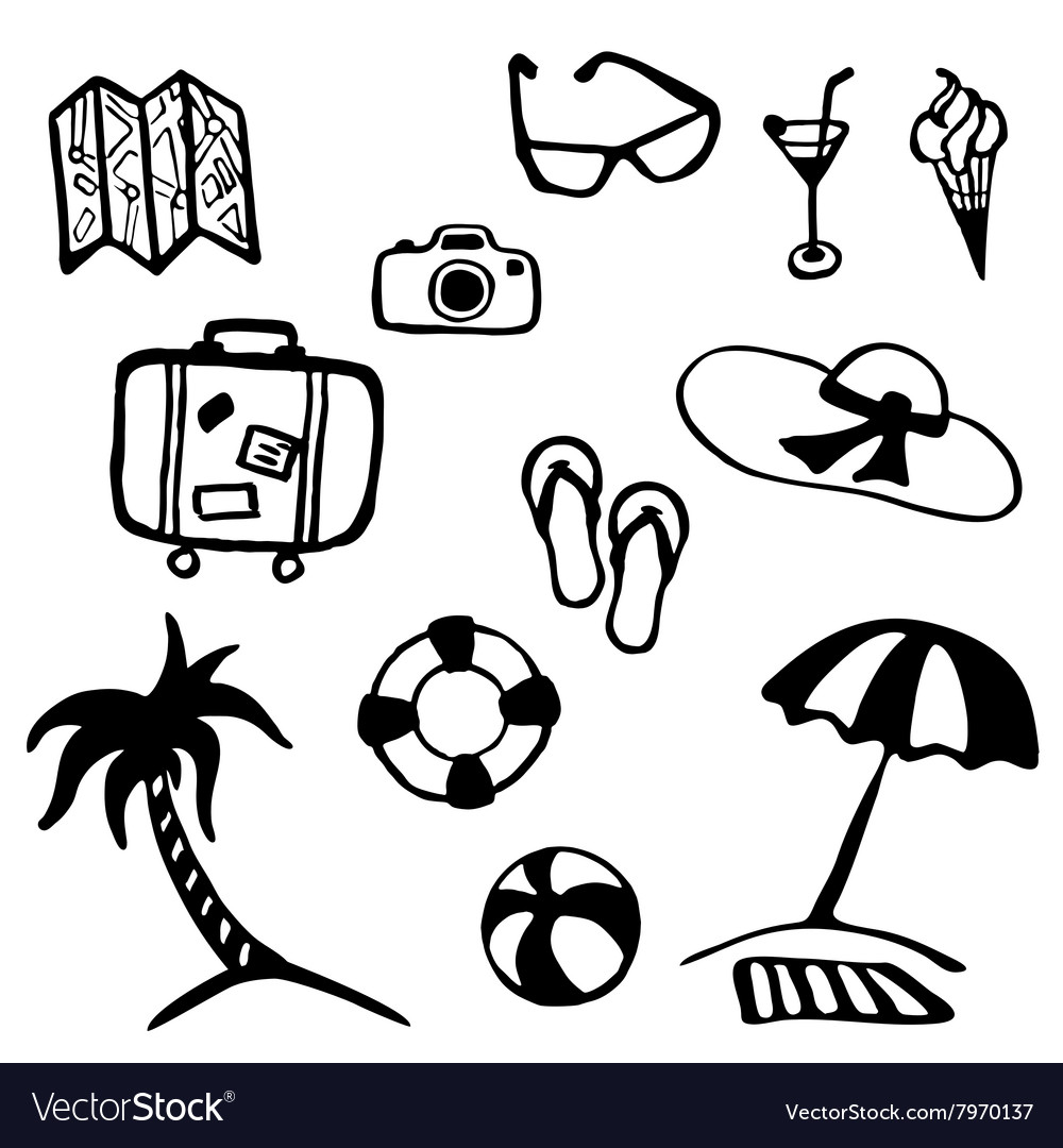 Travel and vacation summer icon collection vector