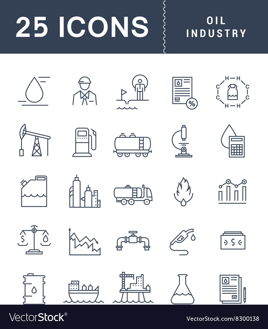 Set flat line icons oil industry vector