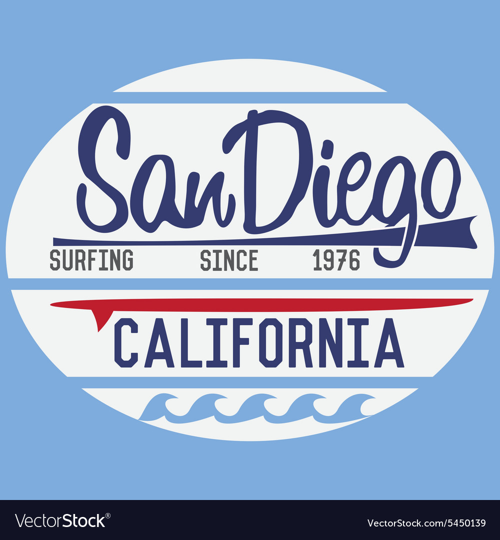 California san diego typography tshirt printing vector