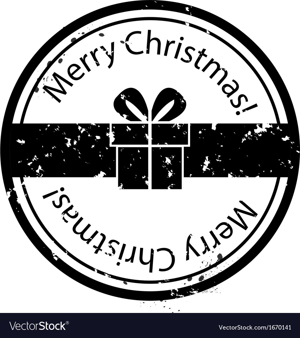 Christmas gift box stamp vector