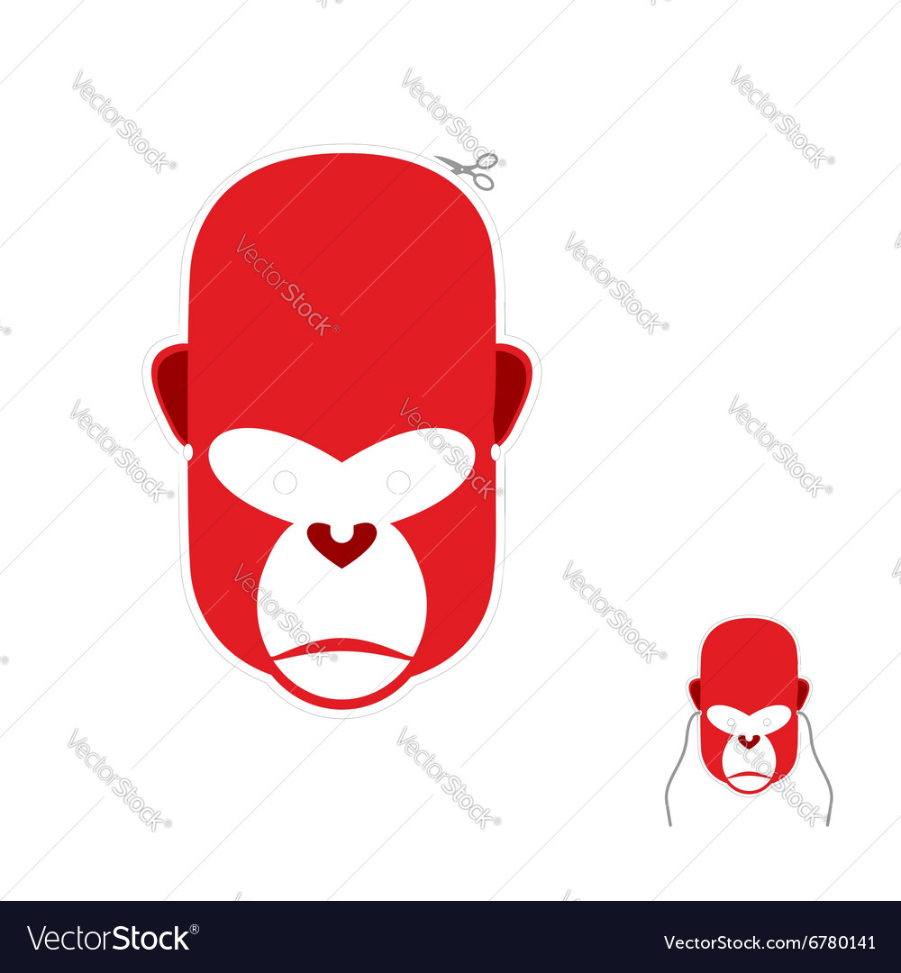 Red monkey mask for new year carnival mask to vector