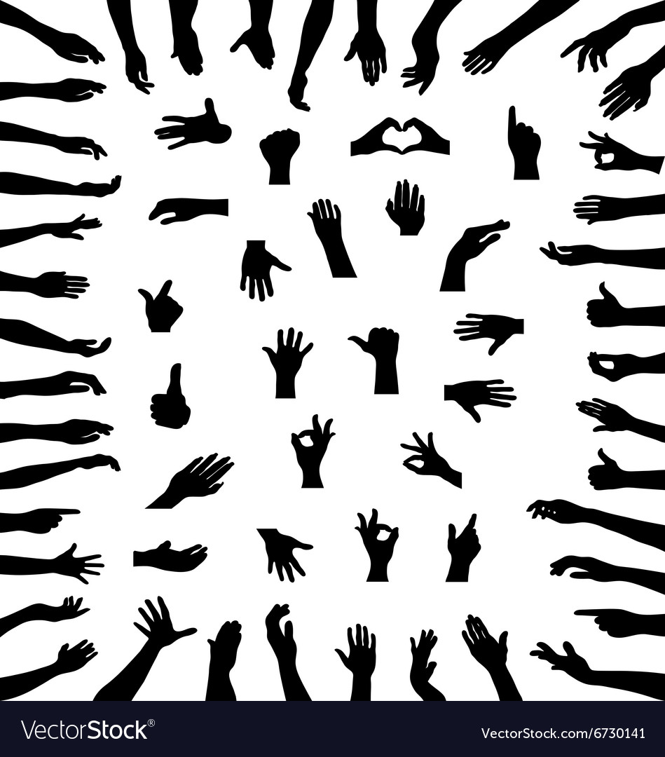 Silhouettes of hands vector