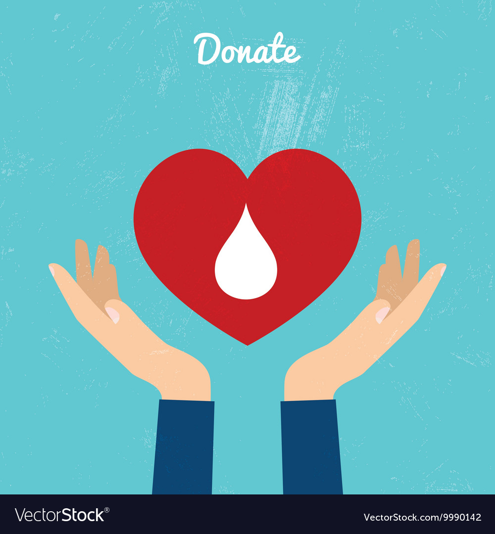 Donate blood bag on blue background vector