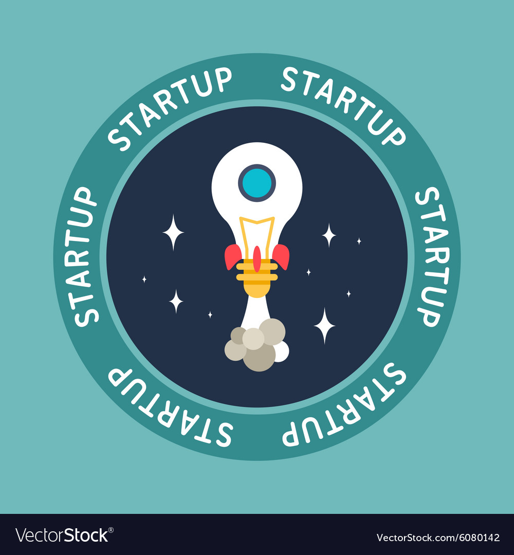 Flat design of space rocket made of lamp startup vector