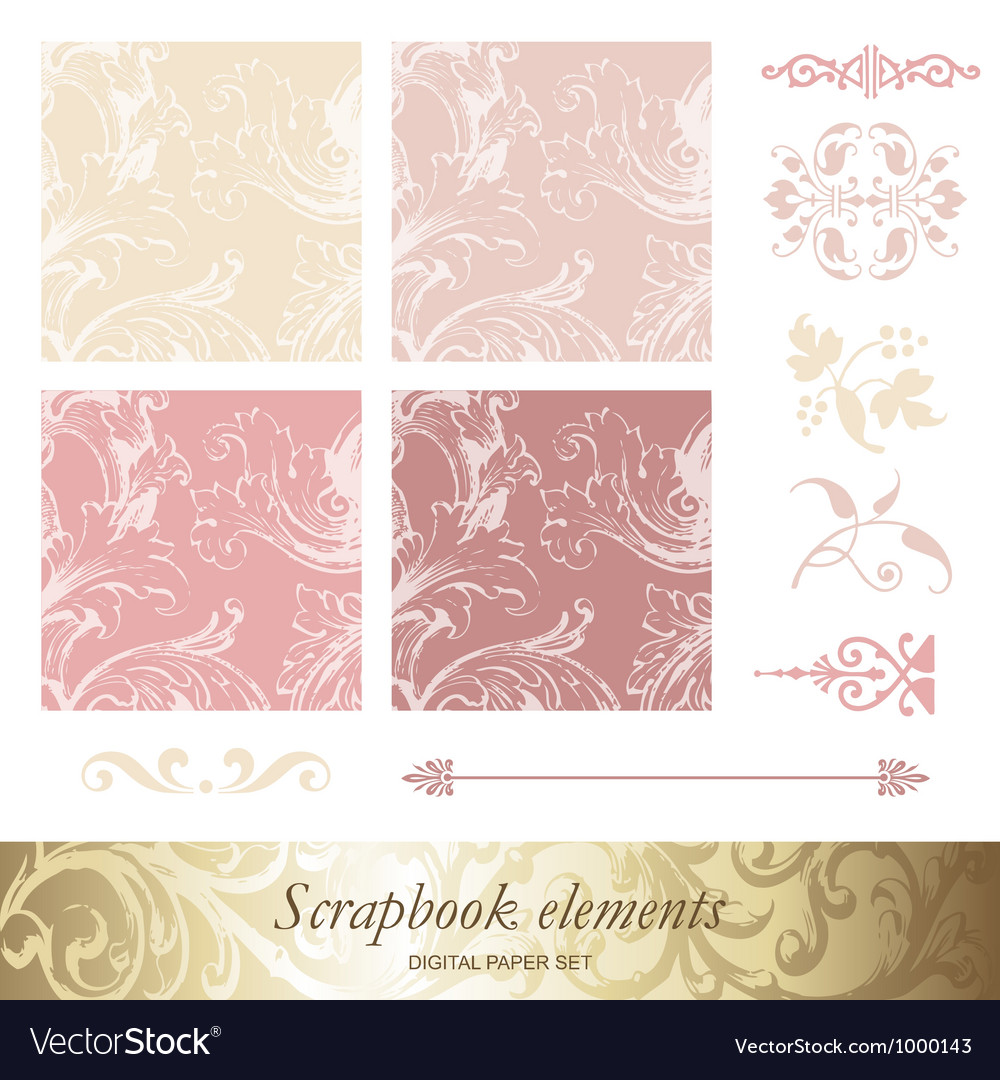 Set of victorian patterns vector