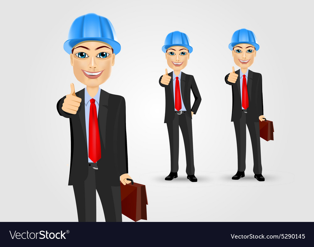 Engineer with briefcase giving thumbs up vector