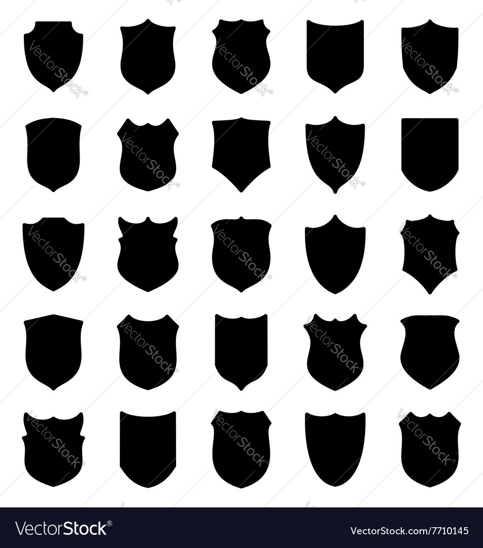 Large set of black shields silhouettes vector