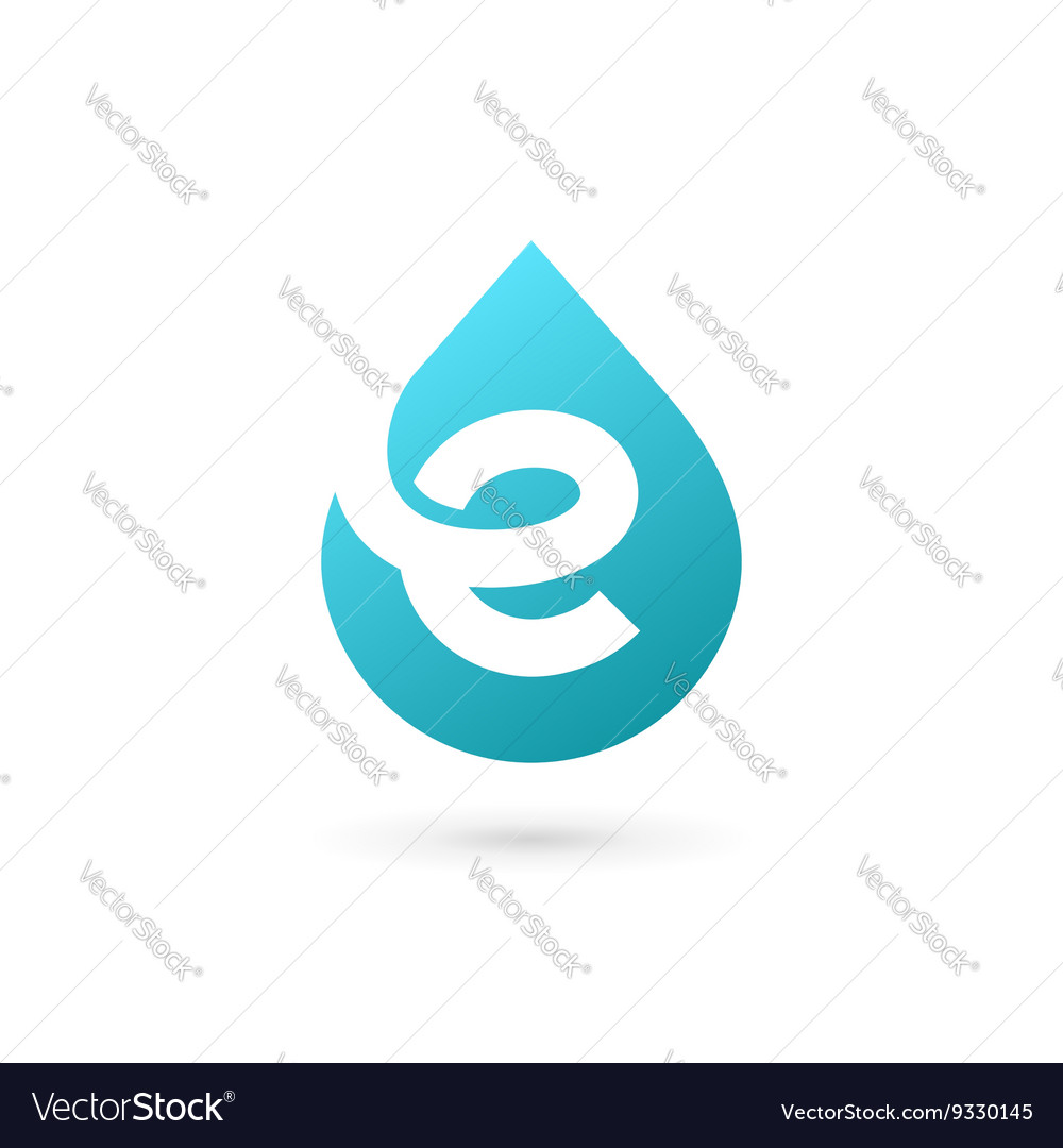 Letter e water drop logo icon design template vector