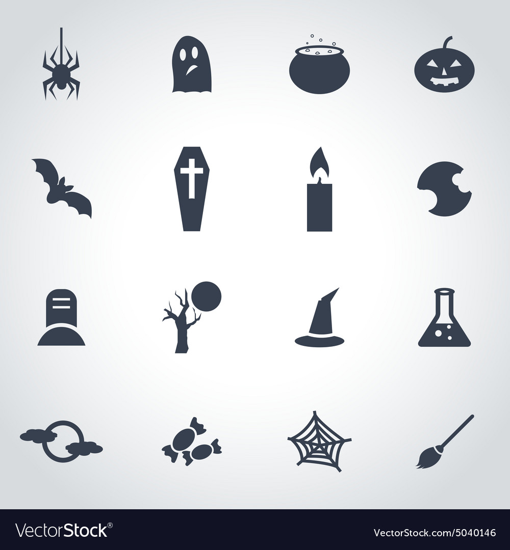 Black halloween icon set vector