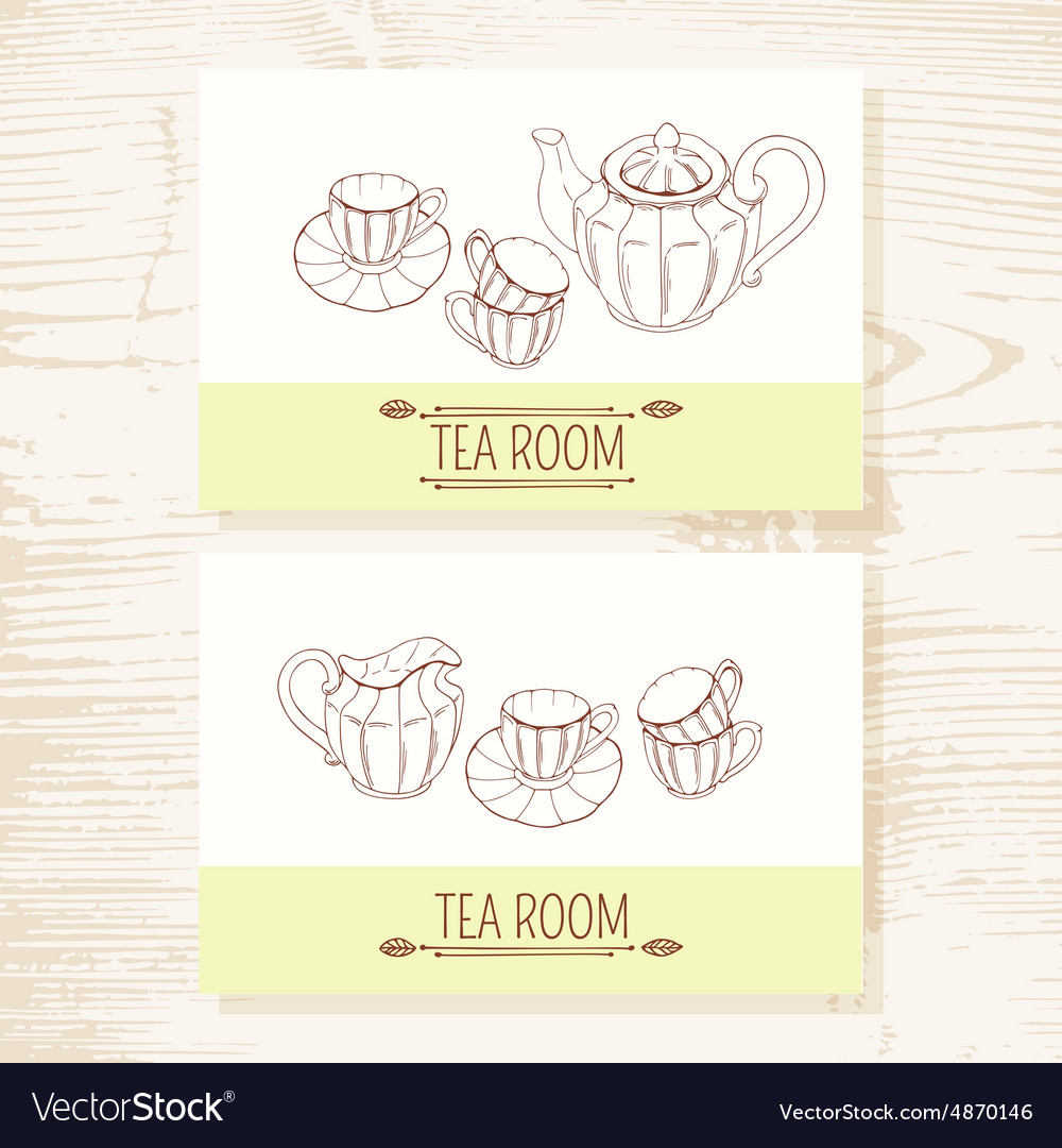 Business card set with hand drawn tea service vector