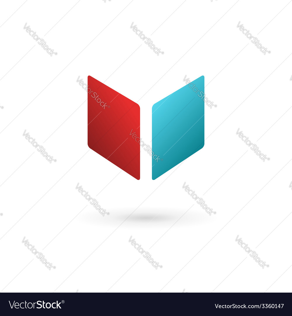 Letter v book cube logo icon design template vector