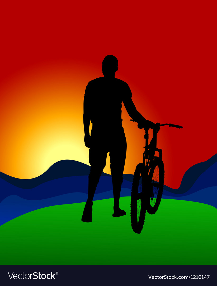 Man with the bike vector