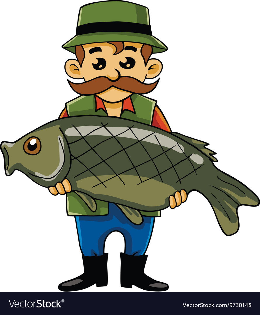Fisherman carrying big fish vector