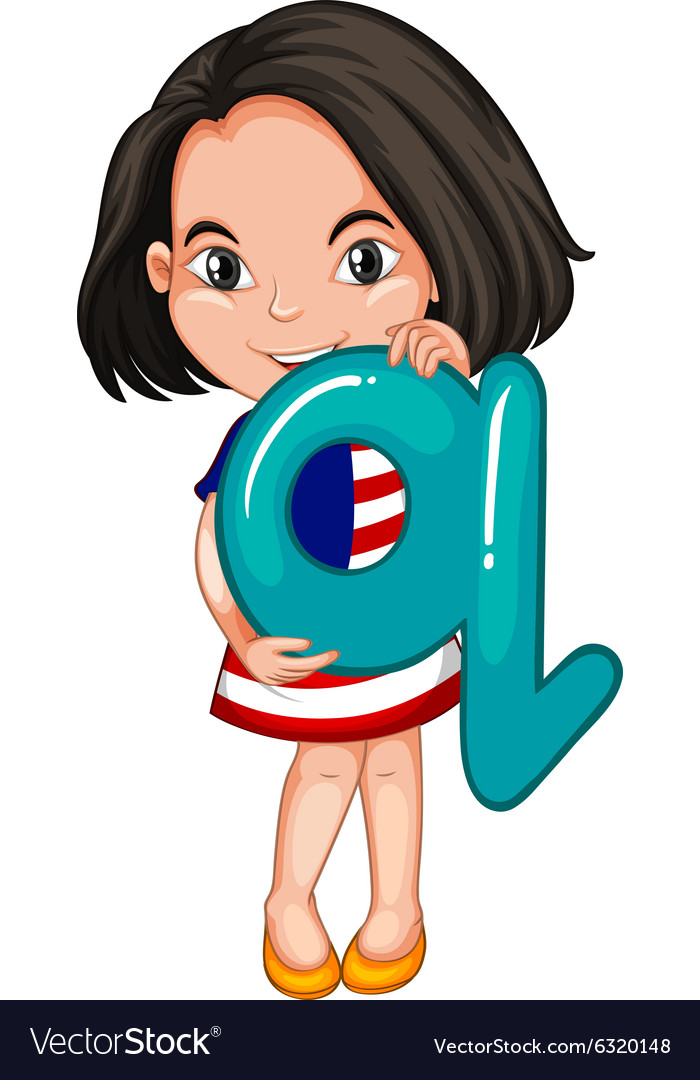 Little girl holding letter q vector