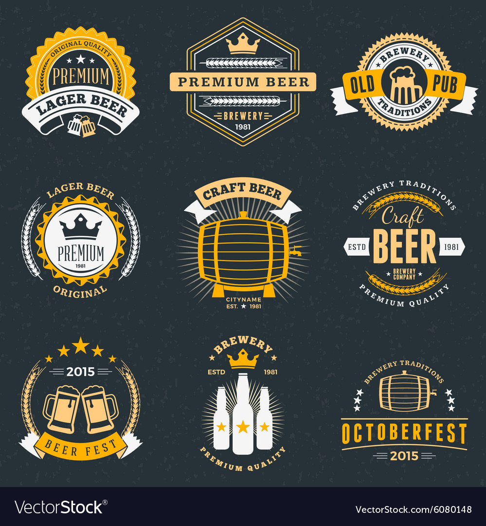 Set of retro vintage beer badges labels logos on vector