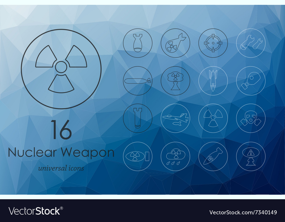 Set of nuclear weapon icons vector