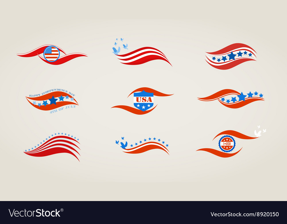 Abstract flags for usa independence day vector