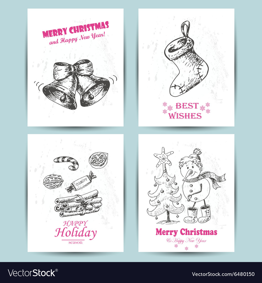 Christmas greeting card with bells snowman candy vector