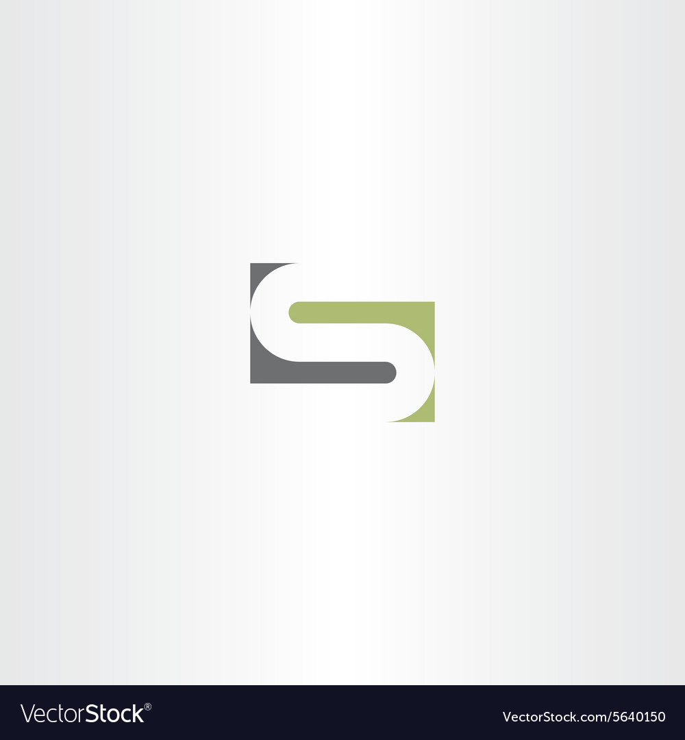 Green gray letter s stylized design vector