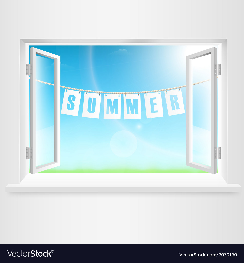 Summer banner hanging out of window vector