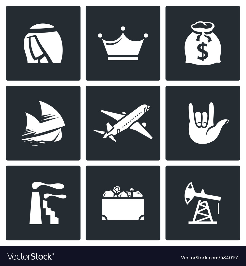 Wealth of arab sheikhs icons set vector