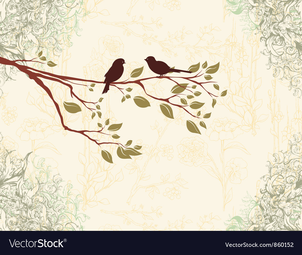 Birds on a branch vector