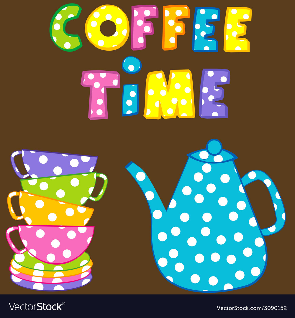 Coffee time with stacked colorful cups and coffee vector
