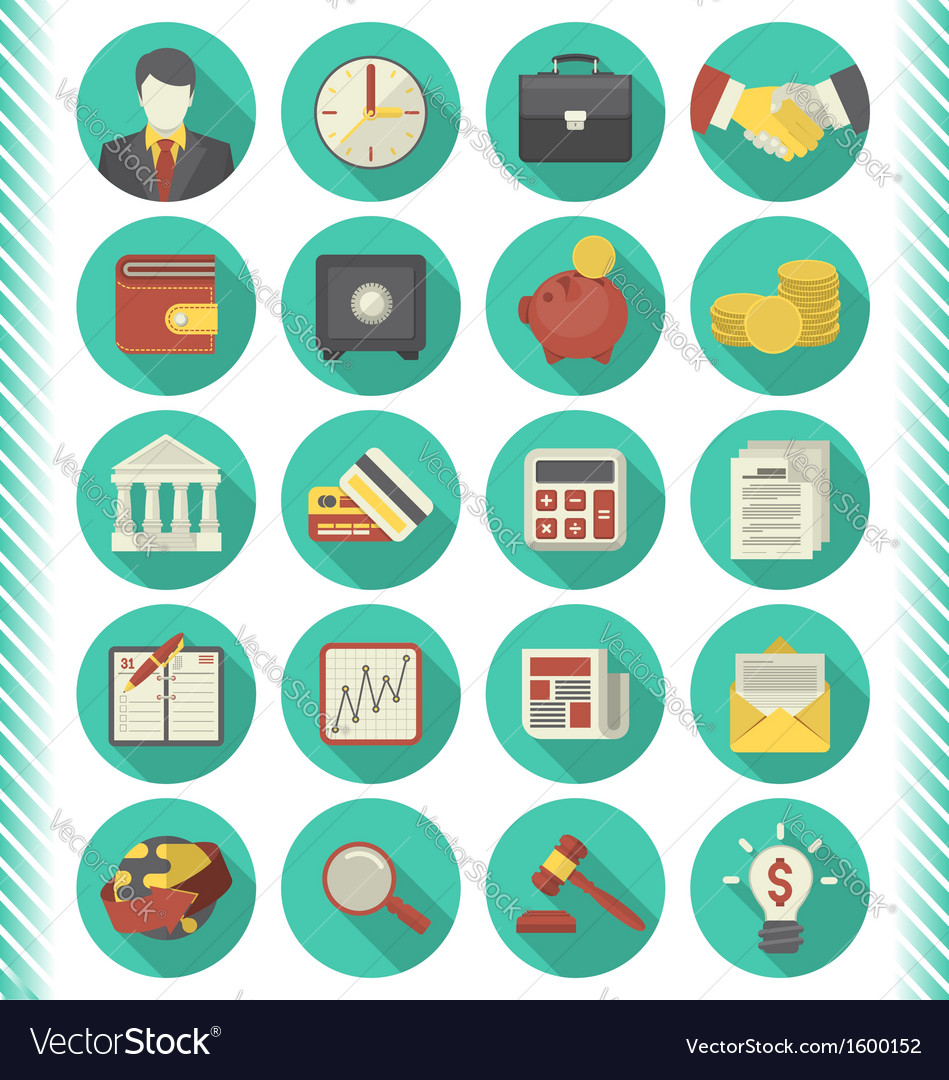 Financial and business icons turquoise set vector