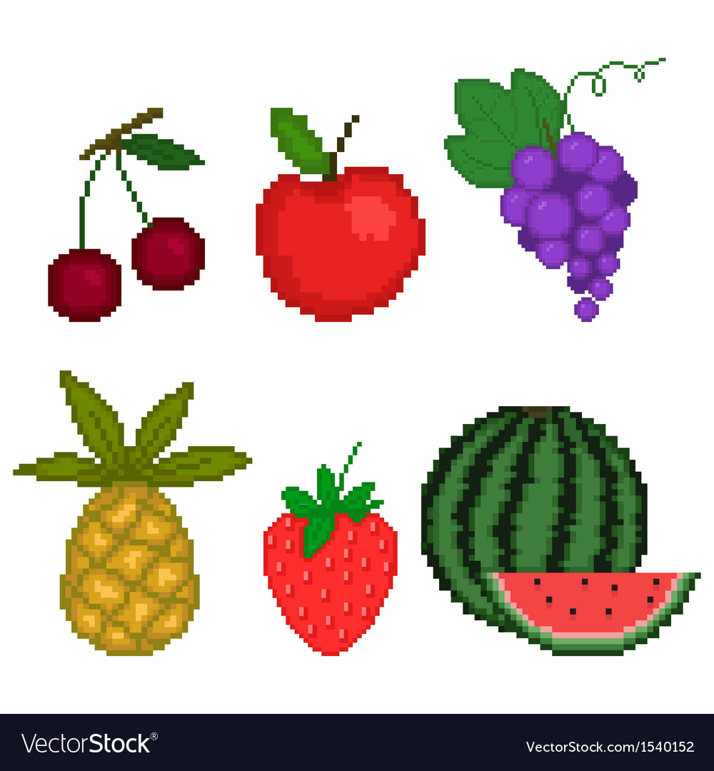 Set fruit in pixel art style on a white background vector