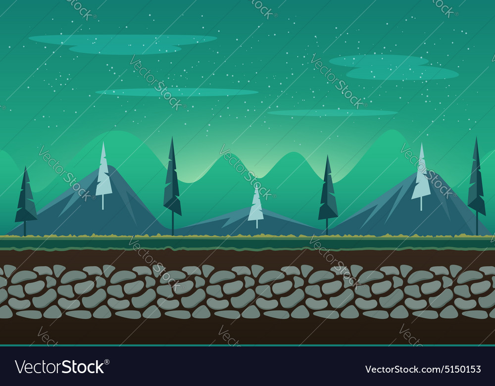 Seamless landscape for game background vector
