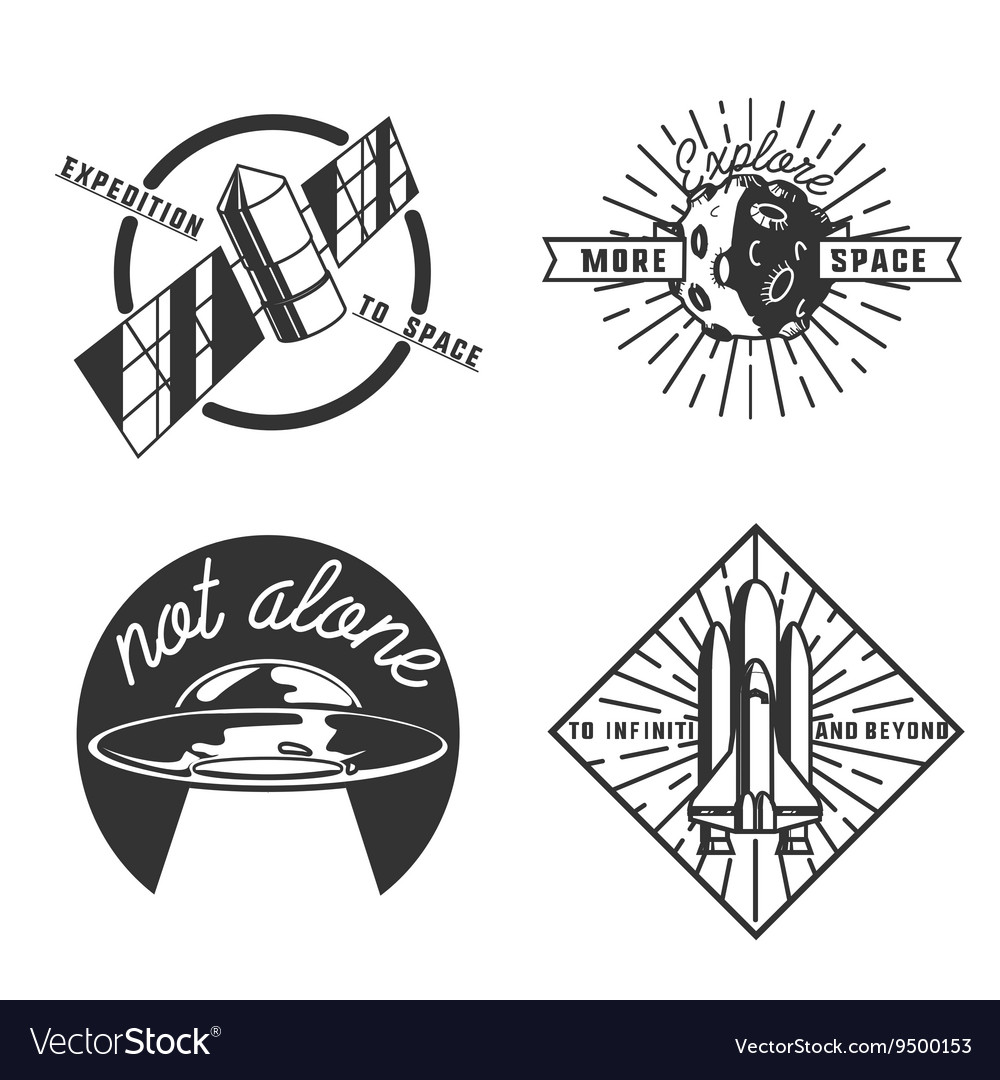 Vintage space emblems vector